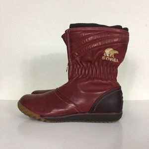 Sorel Red Leather Zip Up Firenzy Breve Winter Boot